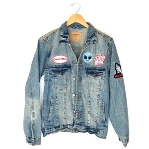 Carbon Jean Jacket with 100% Alien Vibes Patch S